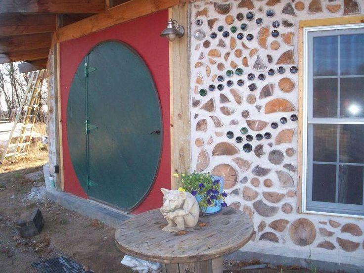 Cordwood Construction - Jessi & Dan Peterson's round hobbit door in Wisconsin.