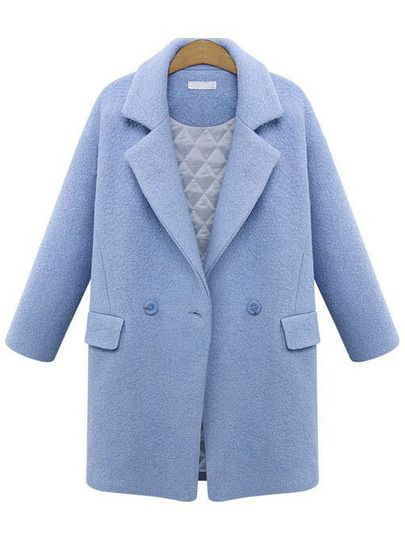 Blue Lapel Long Sleeve Woolen Coat