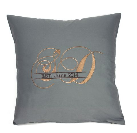Embroidered monogrammed pillow - customize with your names and special date.