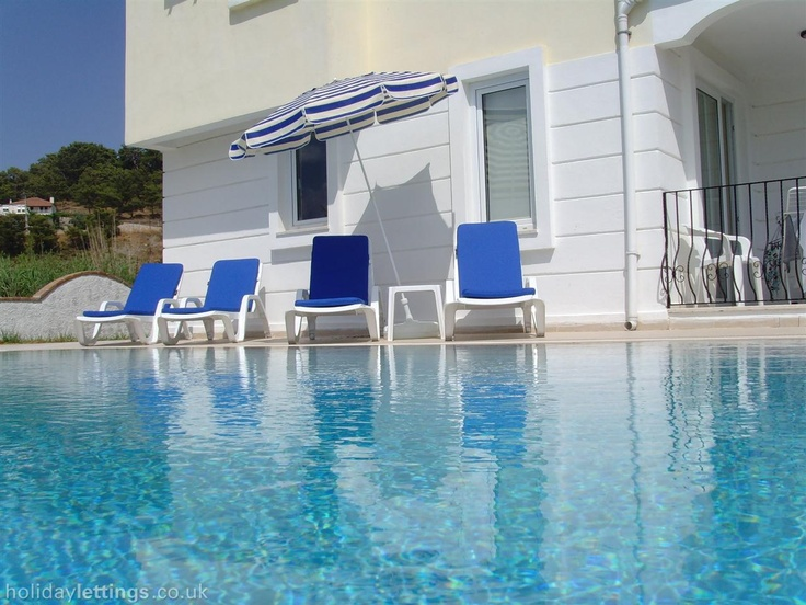 4 bedroom villa in Fethiye to rent from £250 pw, with a private pool. Also with balcony/terrace, log fire, air con, TV and DVD.