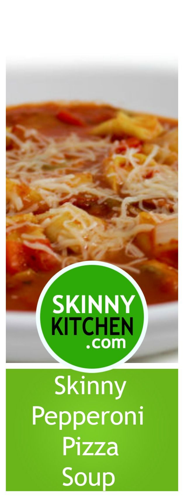 Crock-Pot, Skinny Pepperoni Pizza Soup. This main course soup is absolutely delicious! Wonderful pepperoni pizza flavors. Each big, bowl has 238 cal, 6g fat & only 5 SmartPoints. #crockpot #smartpoints http://www.skinnykitchen.com/recipes/crock-pot-skinny-pepperoni-pizza-soup/