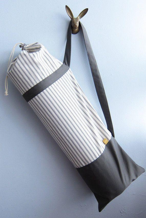 Yoga mat bag, Yoga mat carrier - Nautical charcoal stripes on cream - Medium