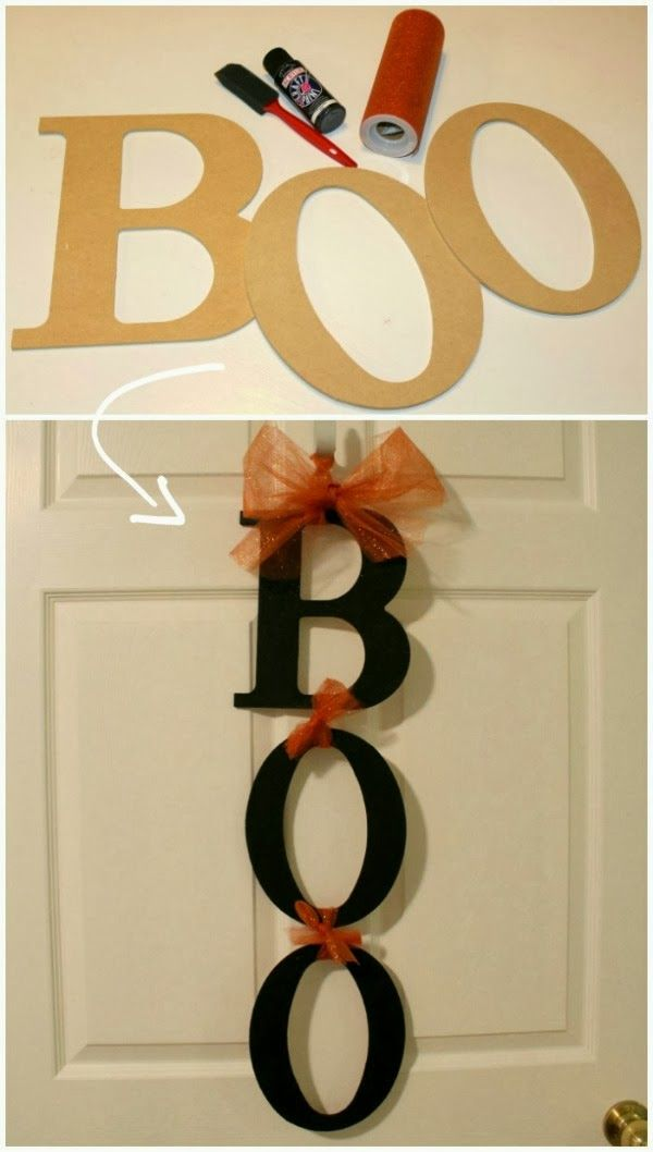 Halloween decorations. DIY. BOO sign Could be done with Fall, adding leaves