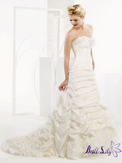 A Line Gown Beaded Strapless Taffeta Wedding Dress WDMB037 $279 www.balllily.com