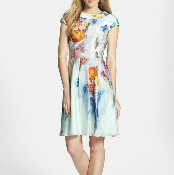 """Rare Ted Baker Floral Print Dress NWOT.  Classic Round collar neck Purchased as a """"Final Sale"""" so label is marked or cut to prevent returns to retailer. Ted Baker Dresses Midi"""