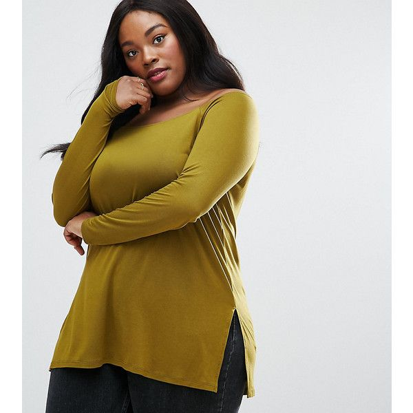 ASOS CURVE Off Shoulder Slouchy Top With Side Split ($13) ❤ liked on Polyvore featuring plus size women's fashion, plus size clothing, plus size tops, green, plus size, plus size party tops, green plus size tops, off the shoulder long sleeve top, going out tops and long sleeve tops