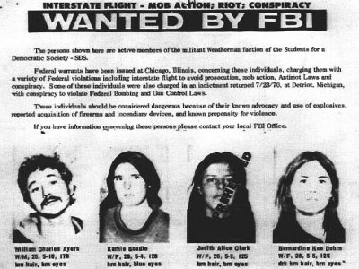Bill Ayers of the Weather Underground Wanted Poster. Ayers held the first political fund raising function for President Obama in Chicago. His wife Bernadette  Dorn  also is on the wanted poster. She did time on charges and Bill beat the rap on a evidence problem. They are neighbors of the Obama's .