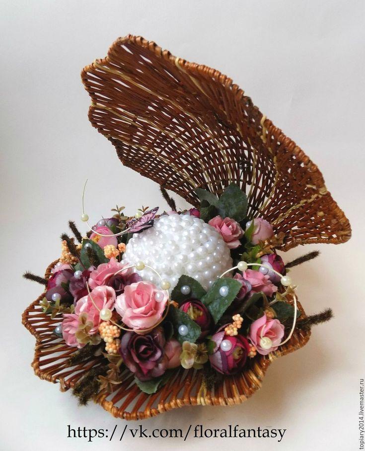 Купить Композиция в ракушке ручной работы - розовый, ракушка, композиция, ручная работа, подарок