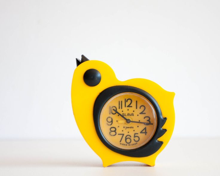 Childrens Alarm Clock, Yellow Chicken Desk Clock, Kids Room Decor, Bird Clock, Slava Clock, Bright Yellow Clock, Back to School by TheThingsThatWere on Etsy