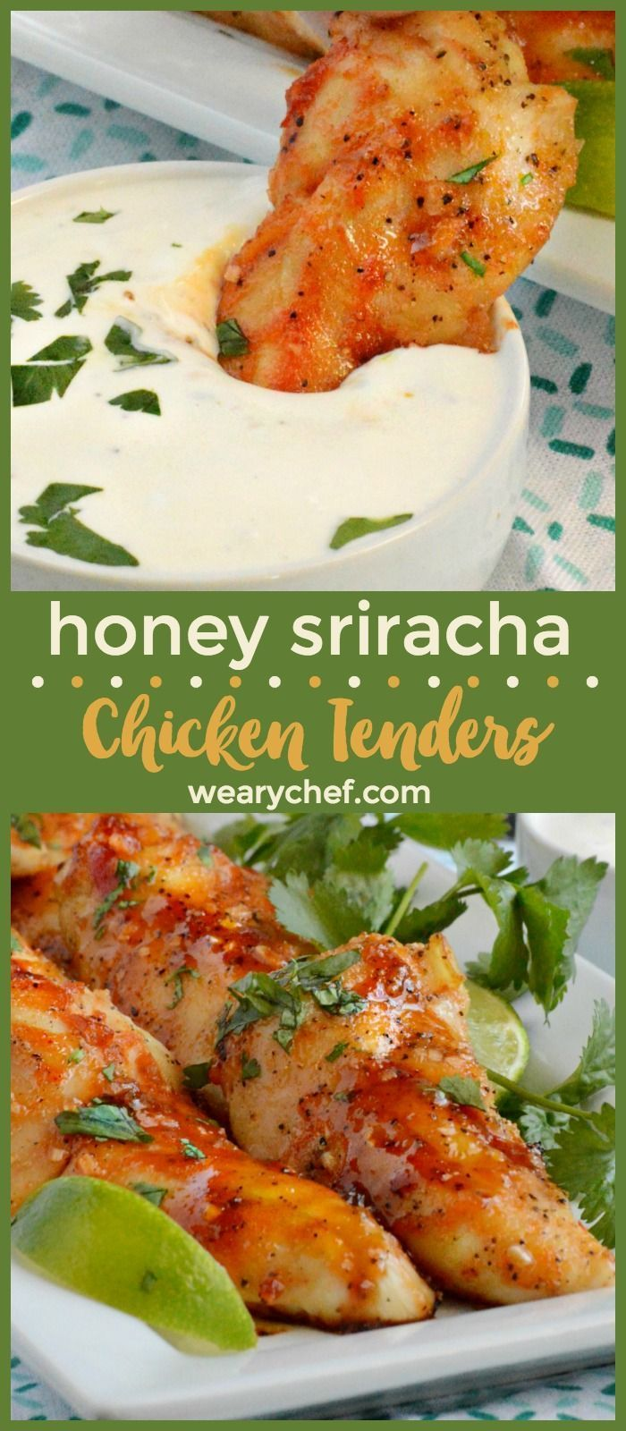 Honey Sriracha Chicken Tenders are a perfect family meal or game day snack. Serve them with homemade ranch for dipping! You'll love this quick and easy chicken recipe!