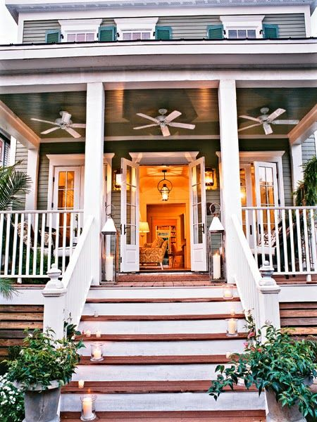 High Porch Ceiling Fans Stairs Reclaimed Wood