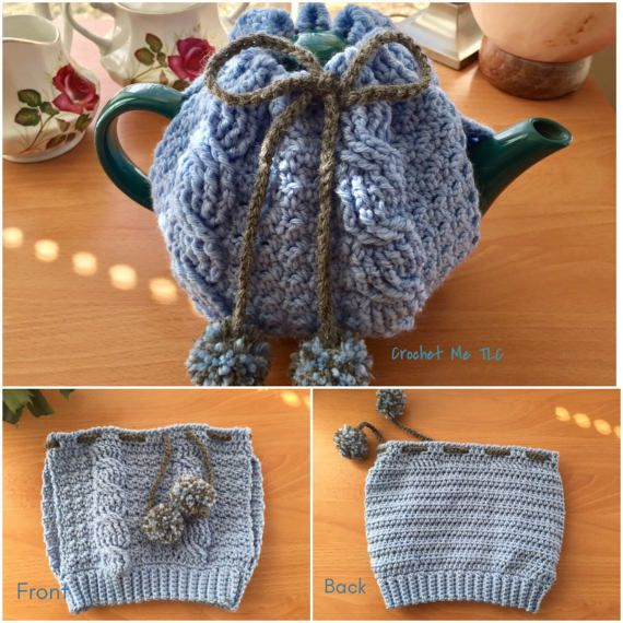 This listing is for one adorable crocheted teapot cozy (teapot not included). ♥ Item will be made especially for you, so please check my Shop Policies or contact me to see the current waiting time ♥ 100% Superwash Wool ♥ Drawstring closure with two handmade pompoms in coordinating