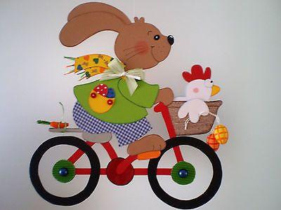 Fensterbild Hase auf Rad- Frühling - Ostern-Küche-Dekoration - Tonkarton!