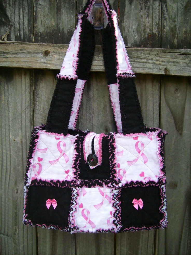 Quilted Rag Bag breast cancer purse i made. www.facebook.com/handmade.by.jenni
