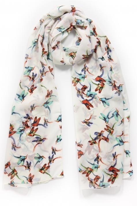 Vergroot - Witte sjaal met paradijsvogels