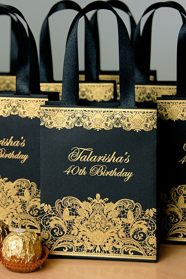 Black Gold Birthday Party Gift Bags With Satin Ribbon Handles And Custom Name Personalized Anniversary Favors For Guests