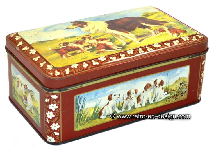 Vintage tin with images of Scotch collie (Lassie) Beautifully designed tin with hinged lid and images of Scotch Collie with puppies. The Scottish Collie was in the 60s and 70s mostly known as the dog Lassie. Beautiful old tin marked on the bottom with the letters A.J.P. This tin has the main color brown. The edges are decorated with flowers in gold and white.  http://www.mijnwebwinkel.nl/winkel/kenko/en_GB/a-46288292/tins/vintage-tin-with-images-of-scotch-collie-lassie/