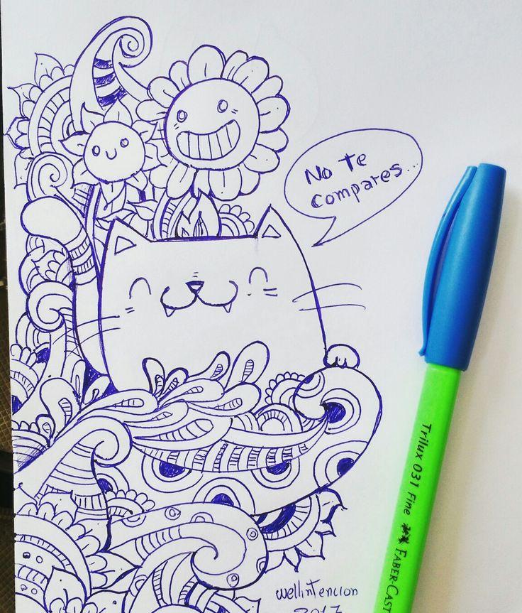 Un doodle hecho en la clase. #doodle #doodleart #drawing #sketch #mandala #kawaii #draw #pen #blue #art #wellintencion #flower #cat #sketch