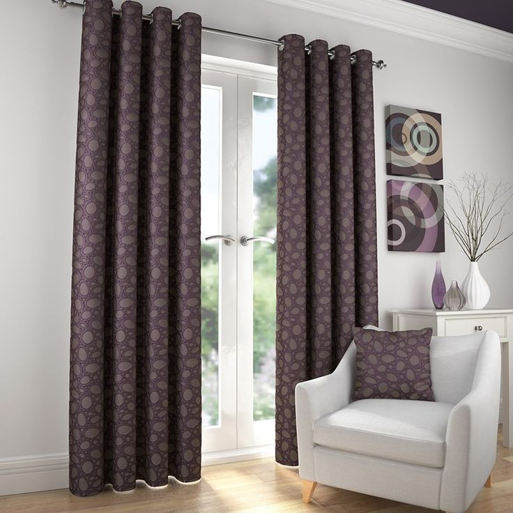 Lunar Heather Ready Made Eyelet Curtains