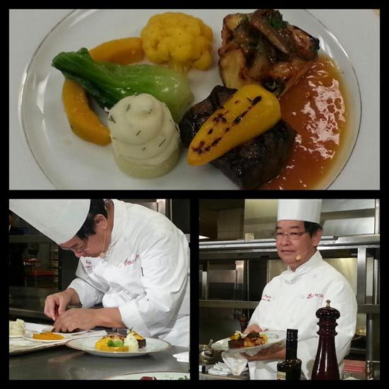 Golden Globes 2013 menu: smoked flat iron beef with grilled sweet pickled pepper and California olive oil orange Chilean sea bass with caramelized mint fennel kabocha pumpkim, yellow cauliflower, baby bak choy, and dill mashed potatoes