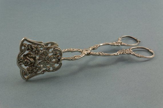 Pastry tongs, candy tongs, rose decor, silver plated