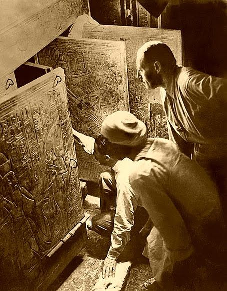 """""""Can you see anything?""""    """"Yes, wonderful things!"""" Howard Carter was the1st person to look into King Tut's tomb. (1923) In the Valley of the Kings, Egypt.                NOTE:  The man who funded the expedition was Lord Carnarvon, the original owner of the estate seen in the TV drama Downton Abbey, who died shortly after the tomb was opened."""