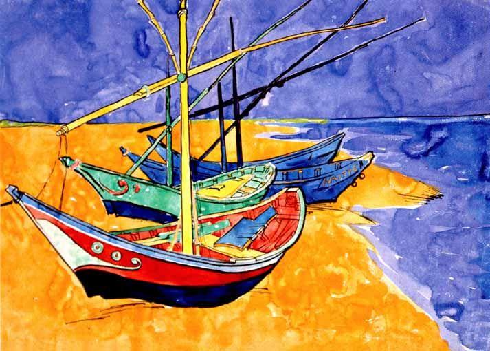Vincent Van Gogh - Post Impressionism - Arles - Saintes-Maries - Aquarelle - Watercolor