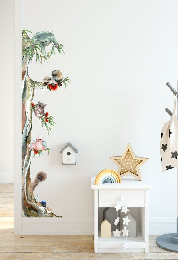 Unique Australian Animal Tree Removable Fabric Wall Sticker For