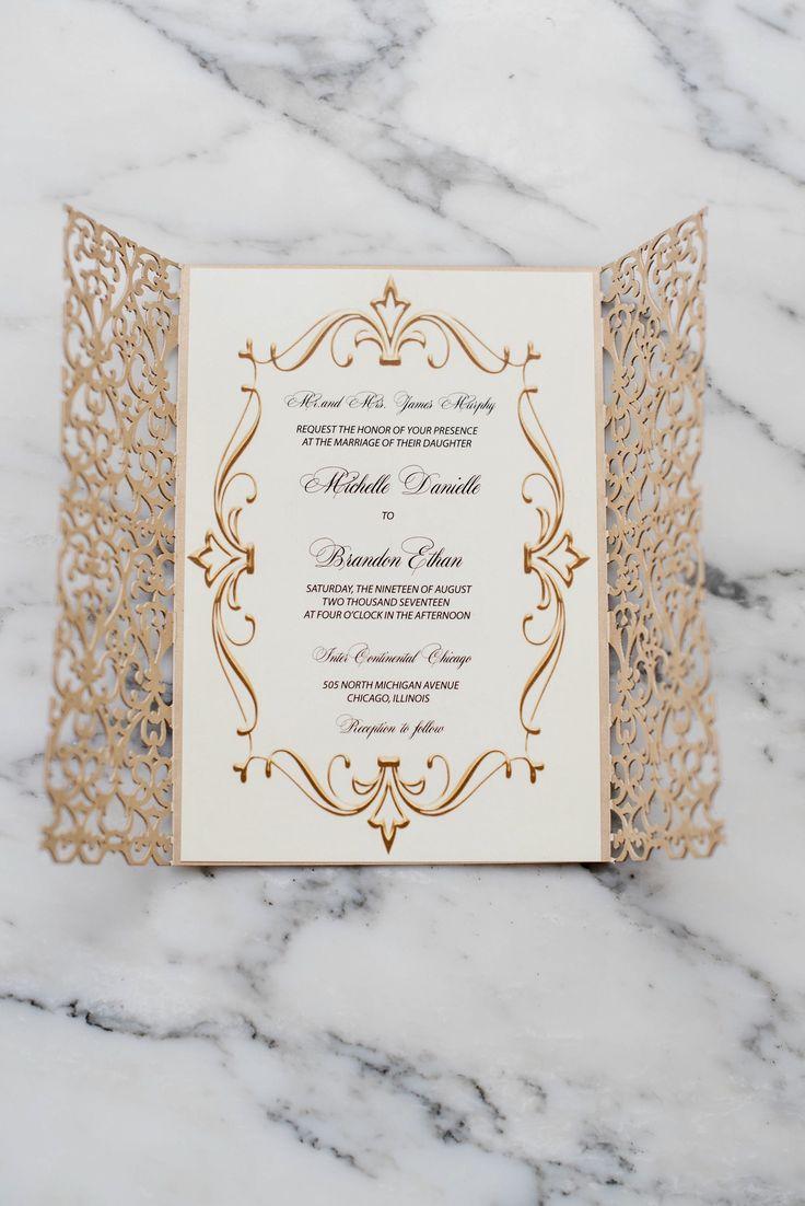 Luxury gold laser cut invitation suite   #invitation