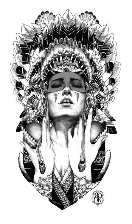 Indian shaman girl Tattoo Design Tattoo and Body Piercing Gloves owned and operated by tattoo artists (Blind Novility).
