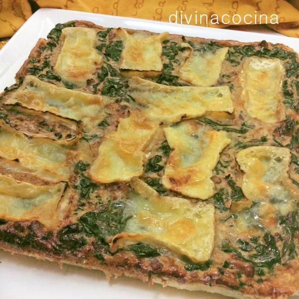 Quiche de espinacas, nueces y camembert