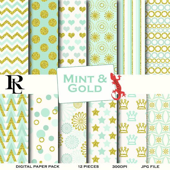 Mint gold Digital Paper  gold mint Background  by TheRedLizard