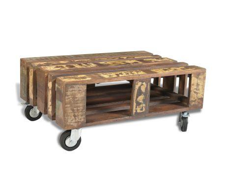 Sofabord i antikstil af genbrugstræ, med 4 hjul