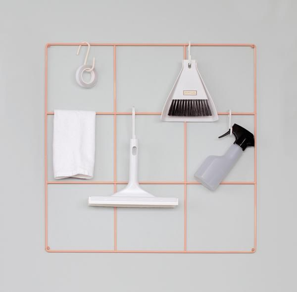 The 9 SquareGrid is a powder painted metallic grid that can be used by itself or with other Wallment elements. Hang your notes and Baskettes to the grid for a