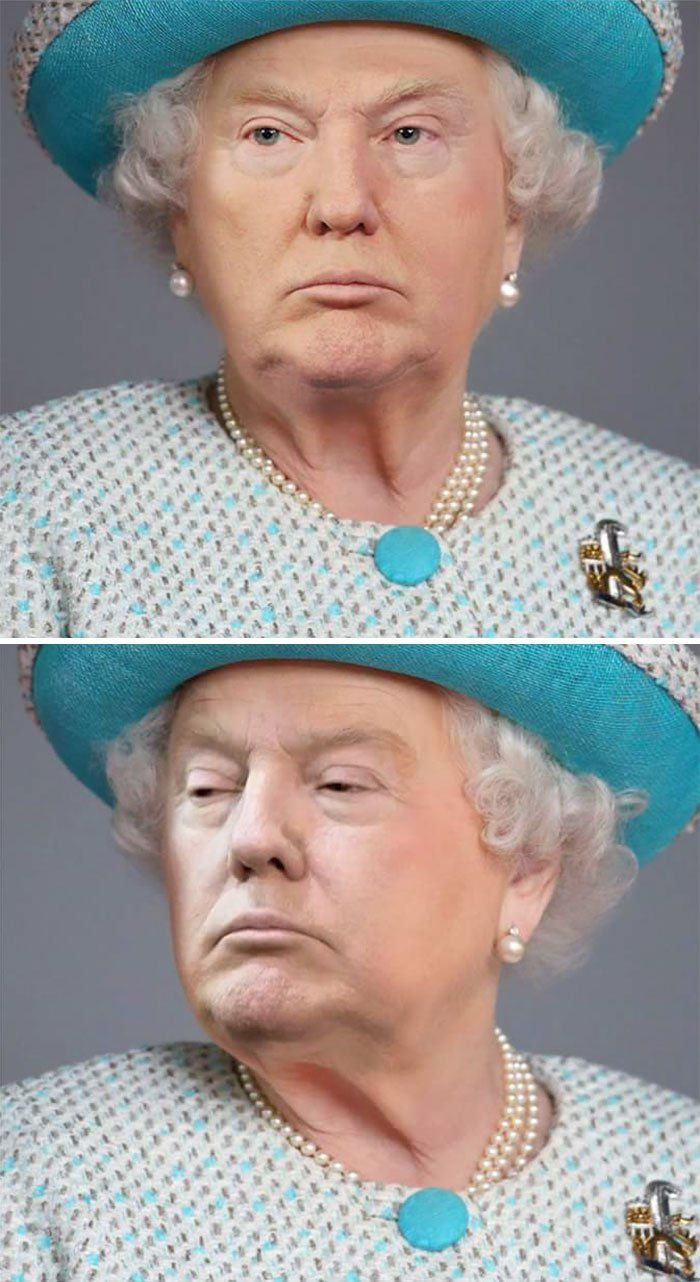 Graphic Designer Photoshopped Donald Trump's Face Onto The Queen And It Is Hilariously Disturbing