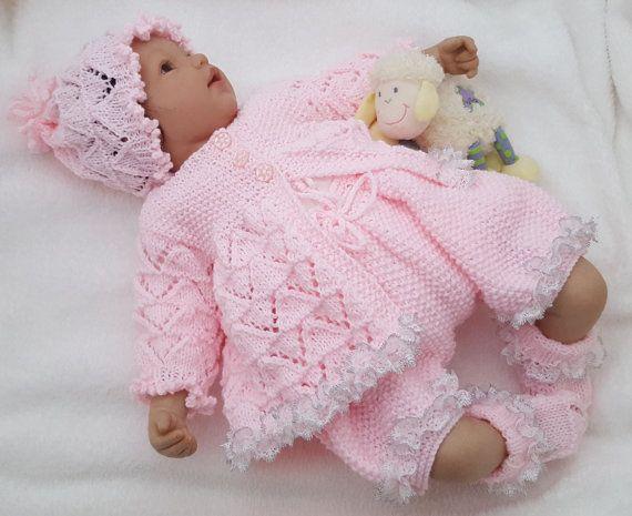 Baby Girls Knitting Pattern -  Download PDF Knitting Pattern - Lace Sweater Set - Hat Shorts & Booties - Homecoming Outfit - Reborn Dolls