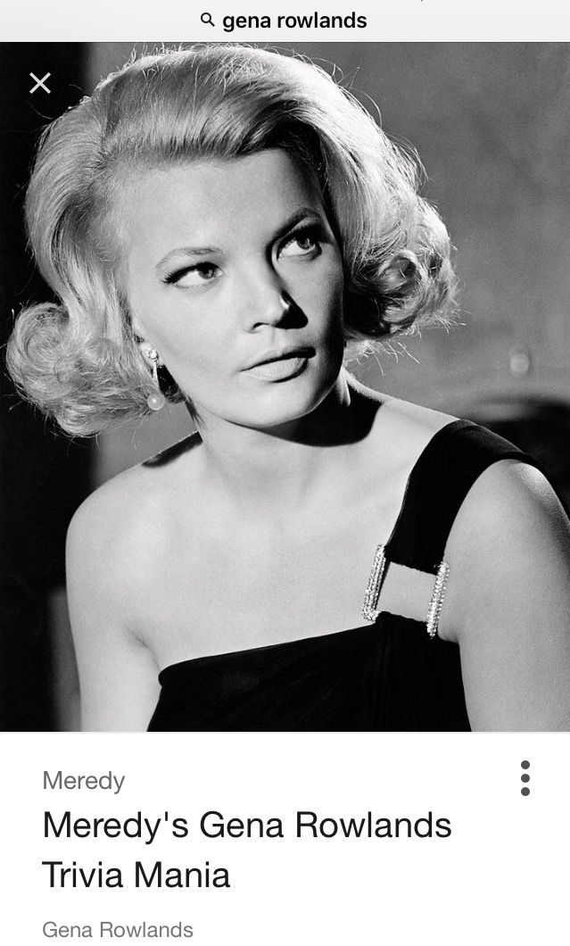 "A young Gena Rowlands. Virginia Cathryn ""Gena"" Rowlands is an American film, stage, and television actress, whose career in the entertainment industry has spanned over six decades.She played the elderly woman with Alzheimer's opposite James Garner in The Notebook."