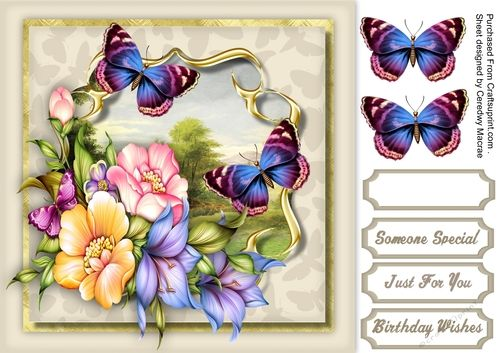 Lovely Rosy-glo roses and butterflys  by Ceredwyn Macrae A lovely card with beautiful rosy- glo roses in a gold bracket frame with butterflys has three greeting tags and a blank one