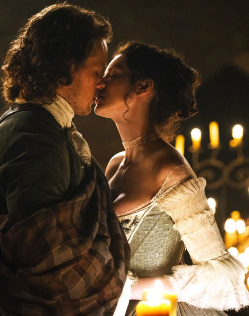 Sam Heughan as Jamie Fraser and Caitriona Balfe as Claire Fraser in Outlander (TV Series, 2014). [x]