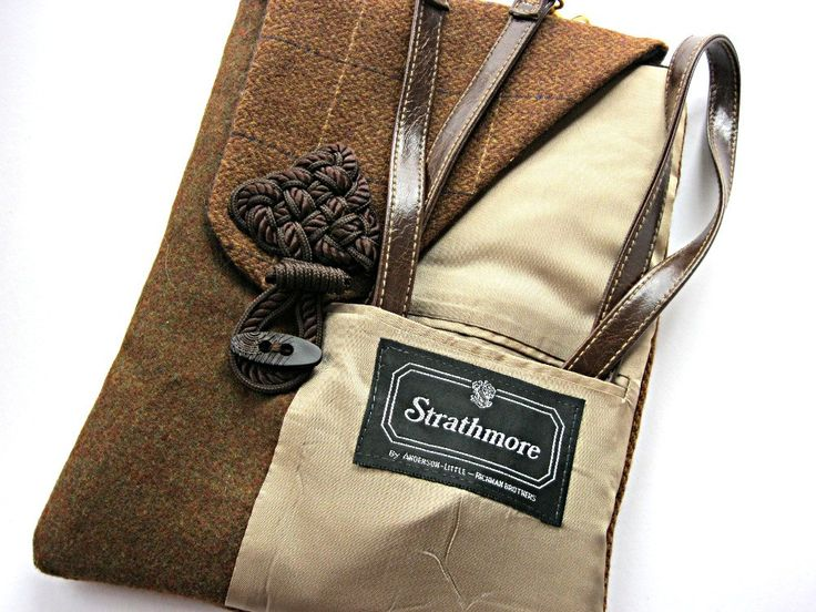 recycled mens suit coats, front pocket tablet case, via Etsy.
