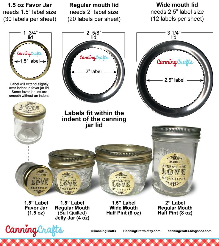 Canning Jar Label Sizes I often get asked what label size will fit a certain ounce canning jar. Mason canning jars can have either regular ...