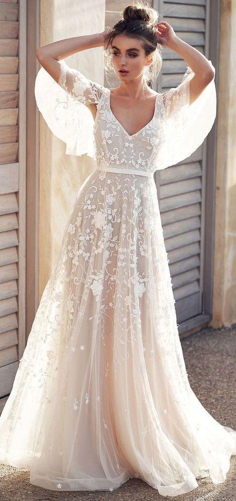 White wedding dress lace applique wedding dress v neck wedding dress half sleeve…