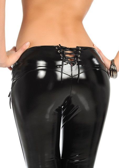 awesome New Sexy Latex Pencil Pants Faux MAT Leather Pants Low Waist Bandage Zipper  Slim Fashion