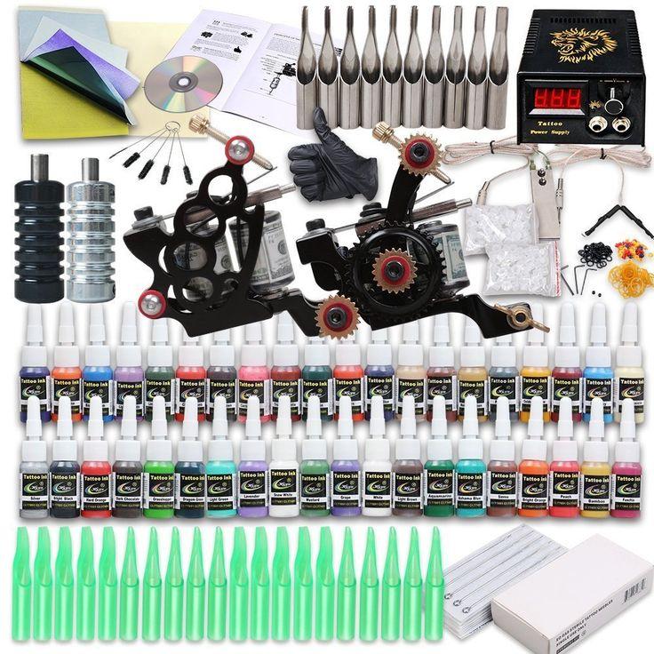 Tattoo Starter Kit 2 Tattoo Machine Power Supply Needles 40 Inks Professional  DescriptionTattoo Starter Kit Two tattoo machines for both