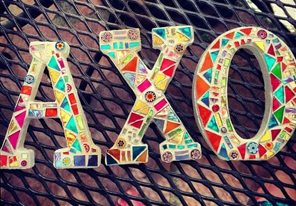 Mosaic Letters ~ ΑΧΩ ❥  If you're feeling SUPER crafty and have some time to kill. This is a one-of-a-kind gift that your little can have forever.