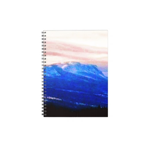Wispy Snow in Mountains  Pink Skies Canada Notebooks - Customize It!