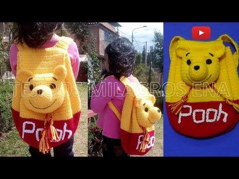 Mochila o Morral de WINNIE POOH tejido a crochet o ganchillo PARTE 1 - YouTube