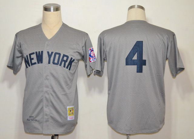 Men's MLB New York Yankees #4 Lou Gehrig Gray  Jersey M& N
