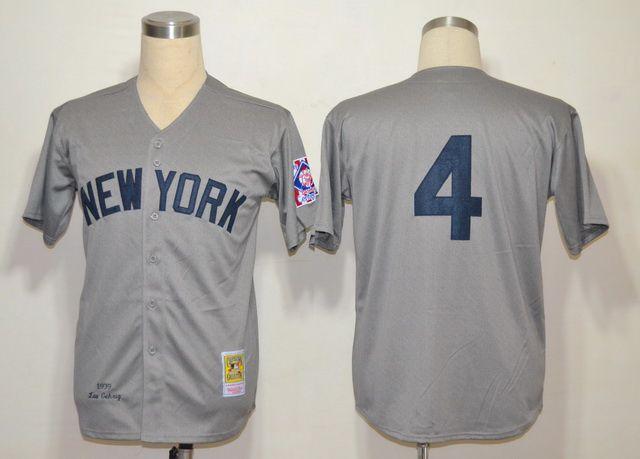 Men's MLB New York Yankees #4 Lou Gehrig Gray  Jersey M& N