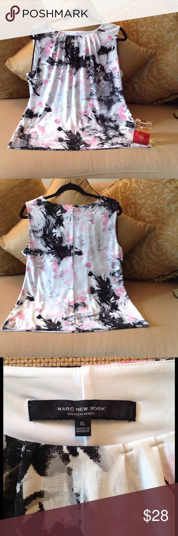 🍃🌸 'Andrew Marc' - Marc New York Top🍃 New Condition Andrew Marc Top. Size XL. Extremely pretty and well made. It keeps it shape very well.  Pretty 'gathers' at the neckline. Check out the Silver Plate on the back neckline!  Gorgeous pattern of Pink/White/Black. Made of Polyester and Spandex blend. 🍃 Andrew Marc Tops
